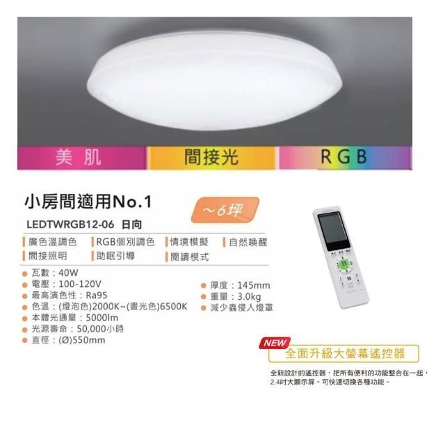 【TOSHIBA 東芝】日向 40W RGB美肌LED吸頂燈 素面燈罩 LEDTWRGB12-06 全彩高演色 2-6坪適用(保固5年)