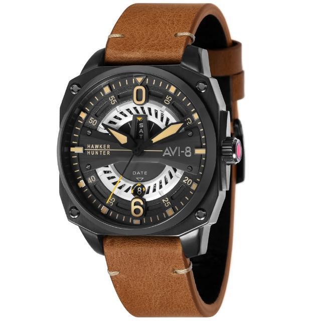 【AVI-8】飛行錶 Hawker Hunter 帥氣手錶(黑x駝色)