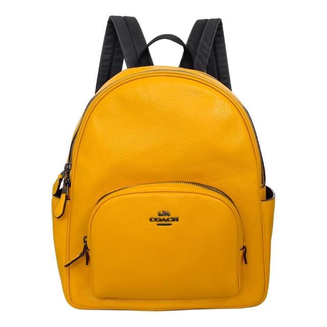 【COACH】荔枝紋全皮雙層多口袋後背包(鵝黃)