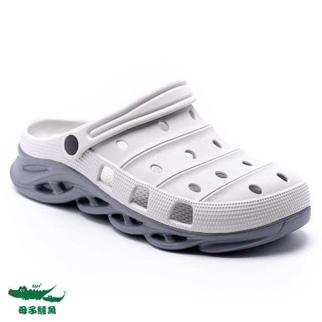 【母子鱷魚】撞色水陸刀鋒布希鞋-灰