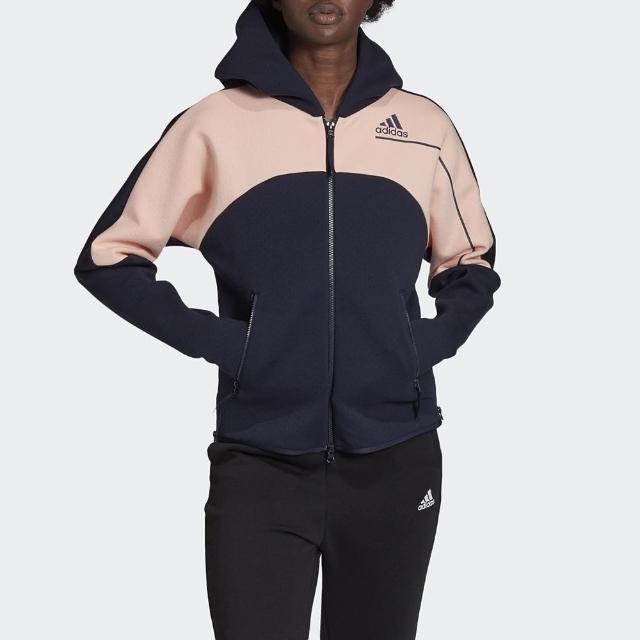 【adidas 愛迪達】外套 女款 連帽外套 運動 慢跑 健身 W ZNE Hd GM3279 深藍粉