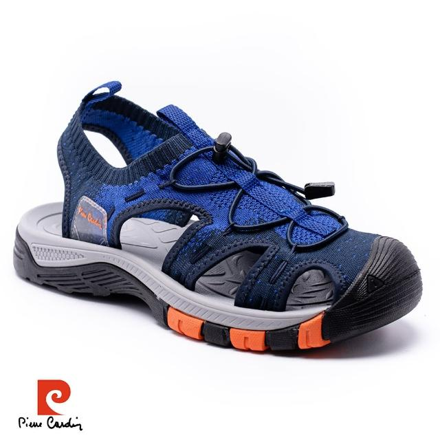 【pierre cardin 皮爾卡登】襪套式護趾男涼鞋-藍