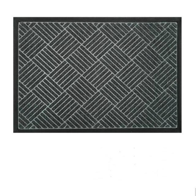 【JEN】現代菱格環保丙綸橡膠門口客廳地毯地墊防滑墊60*90cm-菱夢灰