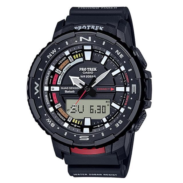 【CASIO 卡西歐】PRO TREK 系列藍芽連接多功能釣魚錶-黑x57mm(PRT-B70-1)