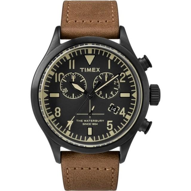 【TIMEX】X TODD SNYDER 刻劃時代計時皮帶腕錶-黑X褐(TW2R13100)