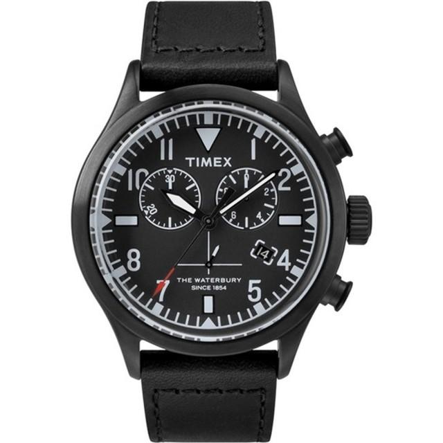 【TIMEX】X TODD SNYDER 刻劃時代計時皮帶腕錶-全黑(TW2R12700)
