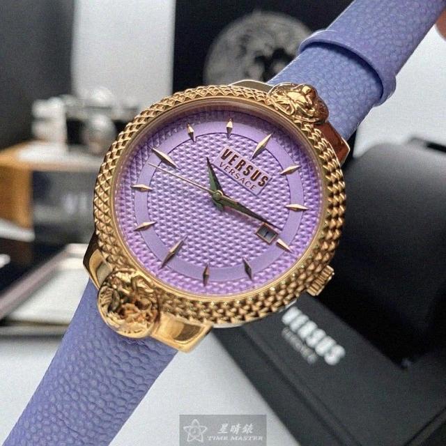 【VERSUS】VERSUS凡賽斯女錶型號VV00312(紫色錶面玫瑰金錶殼紫色真皮皮革錶帶款)