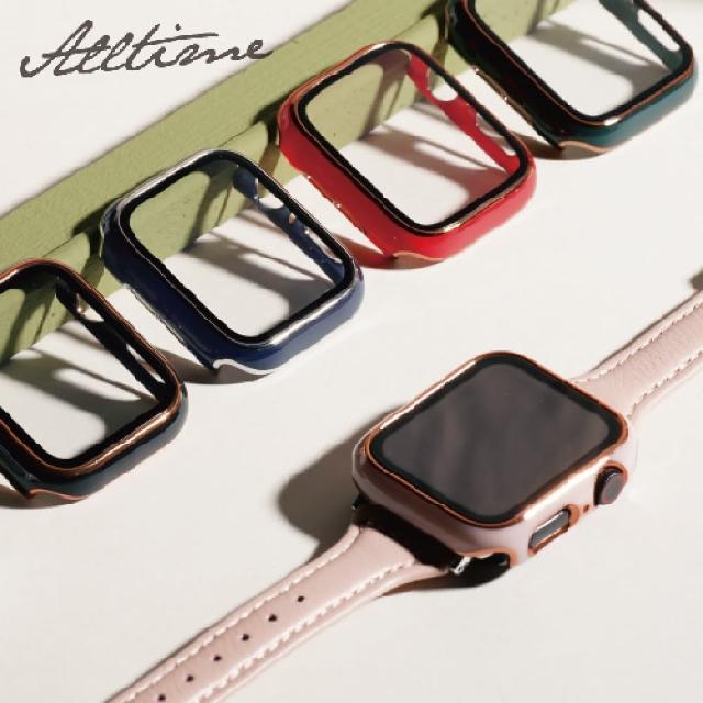 【ALL TIME 完全計時】Apple Watch S6/SE/5/4 42mm 鍅瑯風鋼化膜一體錶殼(Apple watch手錶保護殼)