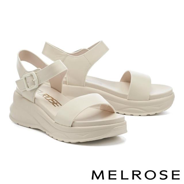 【MELROSE】極簡率性一字帶牛皮厚底涼鞋(白)