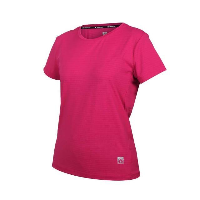 【FIRESTAR】女彈性機能圓領短袖T恤-運動 慢跑 路跑 涼感 上衣 反光 深桃紅(DL162-47)