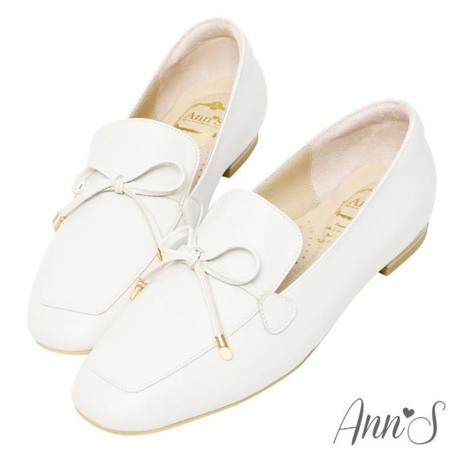 【Ann'S】散發小清新-蝴蝶結柔軟羊皮金釦平底紳士鞋(米白)