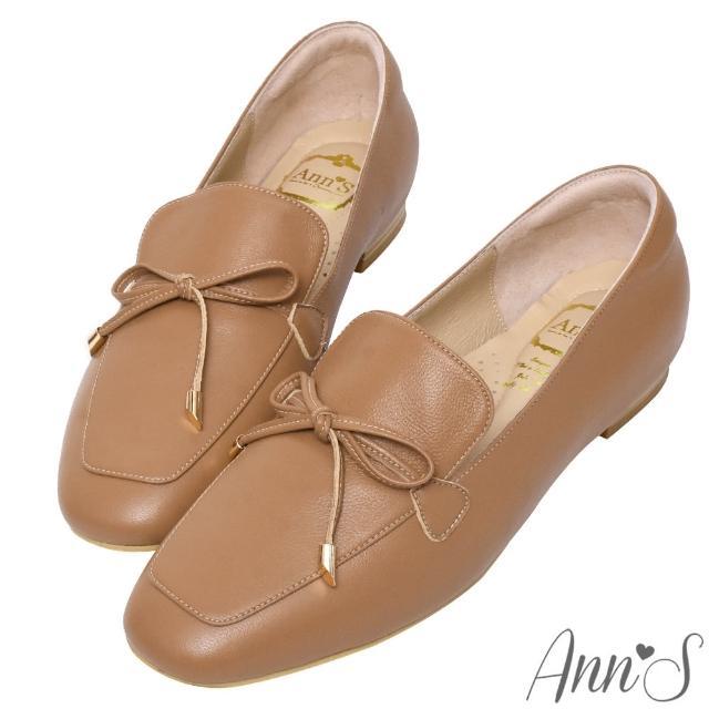 【Ann'S】散發小清新-蝴蝶結柔軟羊皮金釦平底紳士鞋(棕)