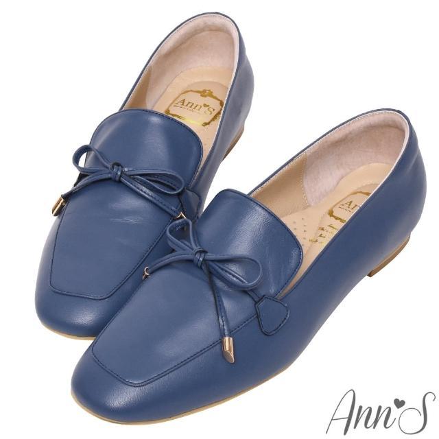 【Ann'S】散發小清新-蝴蝶結柔軟羊皮金釦平底紳士鞋(深藍)