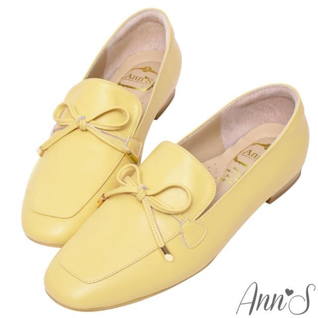 【Ann'S】散發小清新-蝴蝶結柔軟羊皮金釦平底紳士鞋(黃)