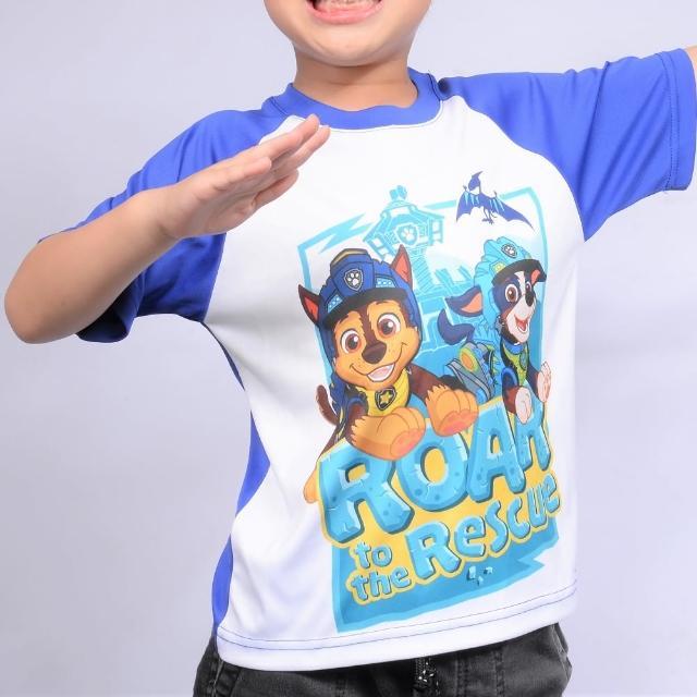 【paw patrol 汪汪隊立大功】恐龍救難隊主題兒童抗UV排汗T-Shirt-藍(汪汪隊;排汗衣;戶外;T shirt;短袖)