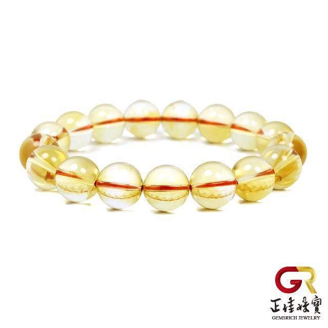 【正佳珠寶】黃水晶 超淨體冰種黃水晶 12mm 黃水晶手珠 黃水晶手鍊|日本彈力繩(正財能量寶石)