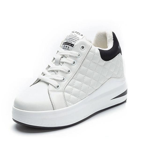 【Sp house】流行前線全真牛皮菱格厚底休閒鞋(2款2色可選)