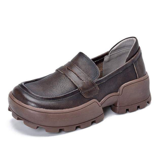 【Sp house】復古質感全真牛皮厚底休閒樂福鞋(2色可選)
