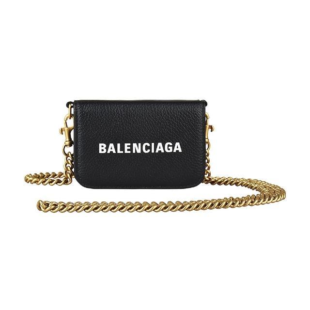 【Balenciaga 巴黎世家】BALENCIAGA經典白字LOGO荔枝紋牛皮三折釦式鏈帶斜背短夾(黑)