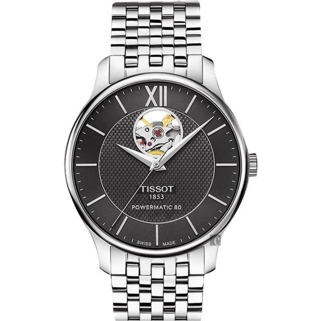 【TISSOT 天梭】天梭 Tradition 80小時動力鏤空機械腕錶-黑/40mm(T0639071105800)