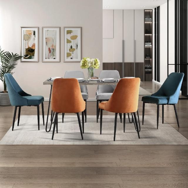 【FL 滿屋生活】一桌六椅-FL 現代時尚餐桌椅組(限量組合/新品上市/實木餐桌椅/美式現代風格)