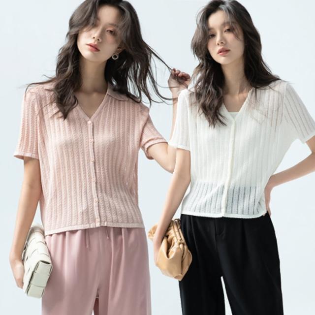 【Alishia】韓版氣質V領鏤空薄款外搭上衣(現+預 黑色 / 白色 / 粉色)