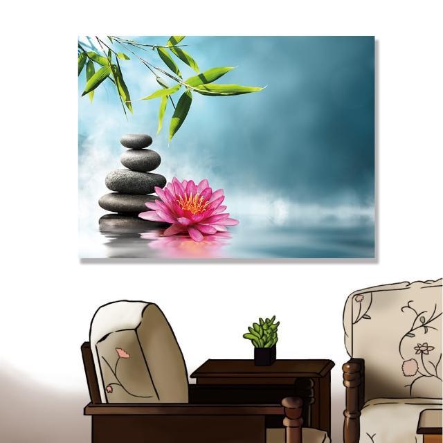 【24mama 掛畫】單聯式 油畫布 溫泉 禪 水 花卉 岩石 寧靜 竹子 植物 無框畫 時鐘掛畫-80x60cm(和平睡蓮)
