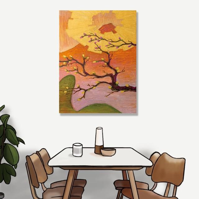 【24mama 掛畫】單聯式 油畫布 花卉 金色 太陽 山丘 藝術 日本 樹 無框畫-30x40cm(櫻花與富士山)