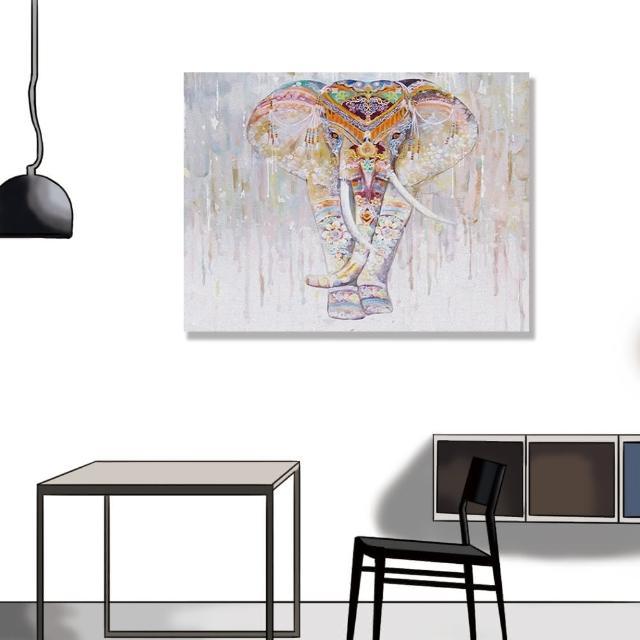 【24mama 掛畫】單聯式 油畫布 動物 豐富多彩 花卉 藝術繪畫 無框畫-80x60cm(宗教大象)