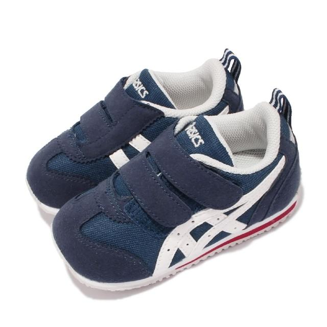 【asics 亞瑟士】休閒鞋 Idaho Baby JP 童鞋 亞瑟士 魔鬼氈 麂皮 日本布料 小童 藍 白(TUB1645001)