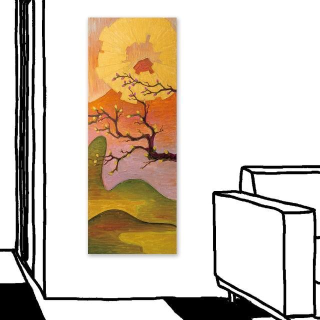 【24mama 掛畫】單聯式 油畫布 花卉 金色 太陽 山丘 藝術 日本 樹 無框畫-30x80cm(櫻花與富士山)