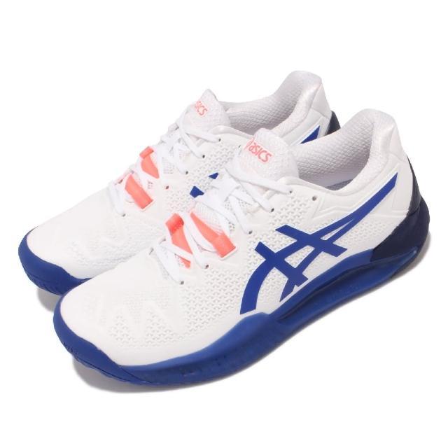 【asics 亞瑟士】網球鞋 GEL-Resolution 8 D 女鞋 亞瑟士 超耐磨橡膠 緩衝 亞瑟膠 白 藍(1042A097107)