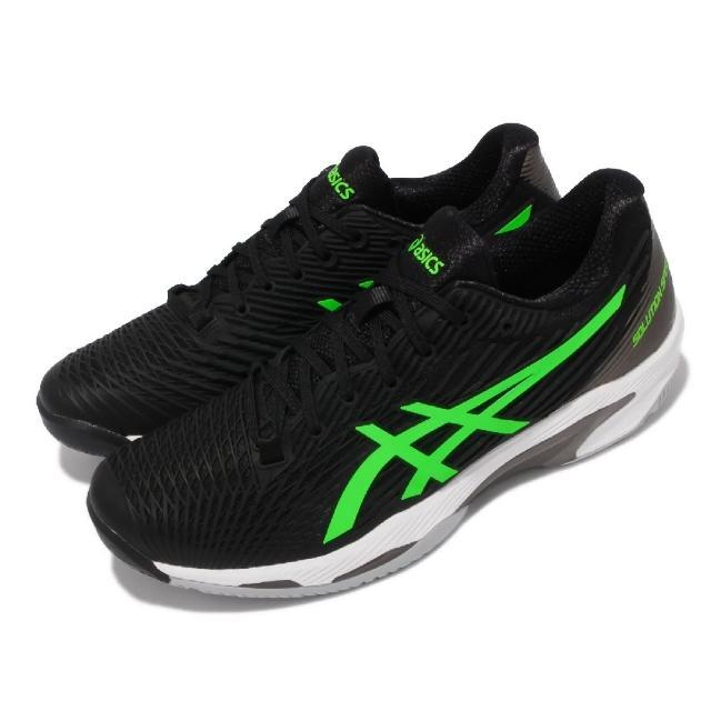 【asics 亞瑟士】網球鞋 Solution Speed FF 2 男鞋 亞瑟士 吸震 回彈 避震 後足亞瑟膠 黑 綠(1041A182003)