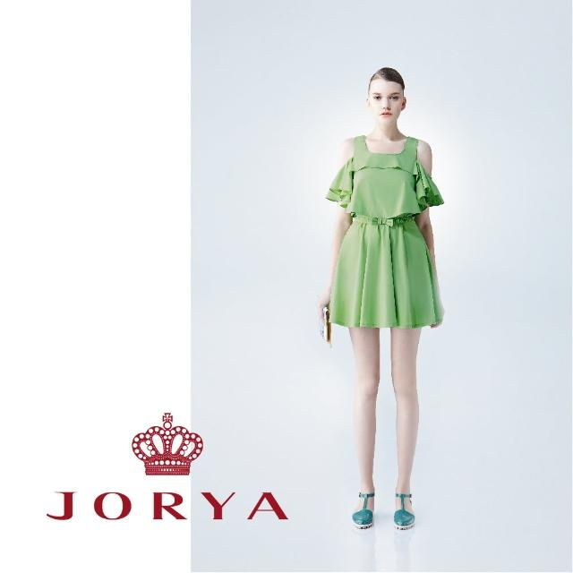 【JORYA】weekendG2203305 蝴蝶結露肩荷葉邊短袖連身洋裝
