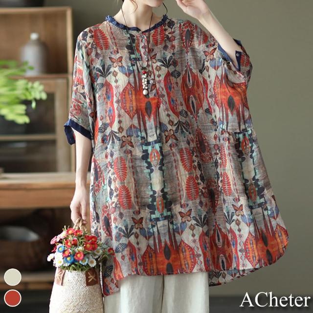 【ACheter】戀戀國風亞麻感木耳領寬鬆長上衣#109981現貨+預購(2色)