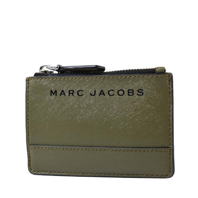 【MARC JACOBS 馬克賈伯】黑色LOGO防刮皮革證件/鑰匙零錢包-軍綠
