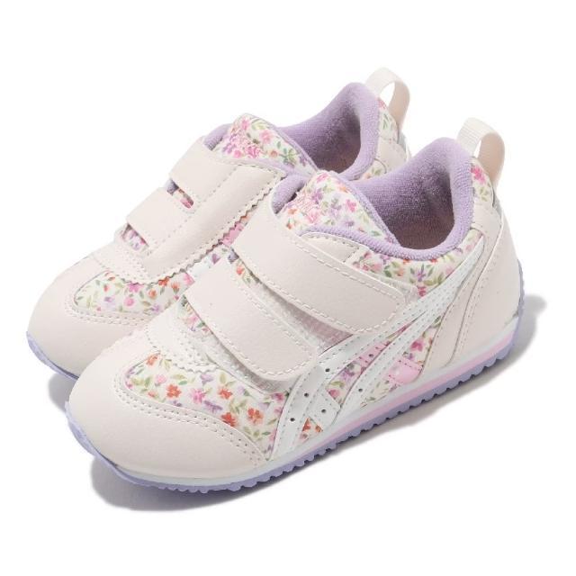 【asics 亞瑟士】休閒鞋 Idaho Baby CT 4 童鞋 亞瑟士 學步鞋 魔鬼氈 花朵圖案 小童 米 紫(TUB167500)