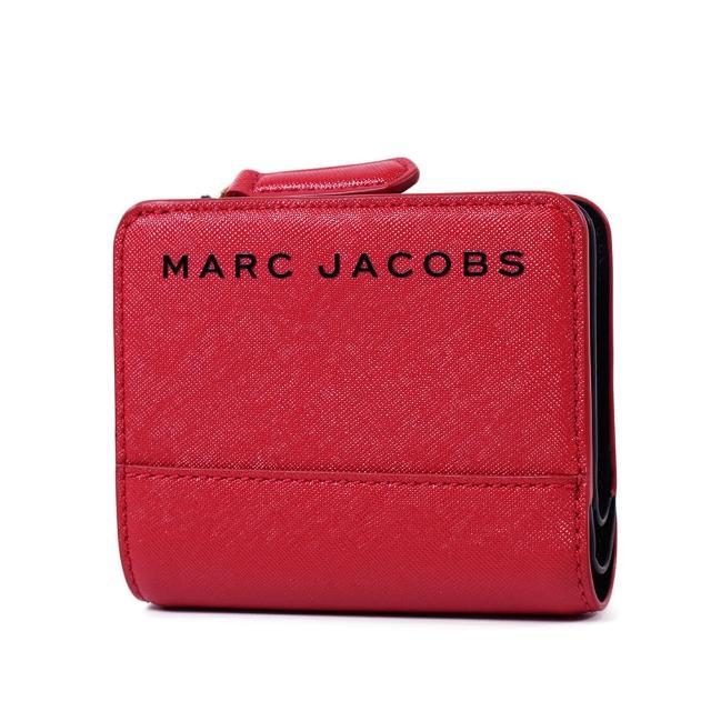 【MARC JACOBS 馬克賈伯】黑色LOGO防刮皮革釦式短夾-紅色