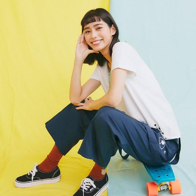 【Dailo】休閒熊熊寶貝蛋拼接-女短袖 拼接 黑 白(二色/魅力商品/版型合身)