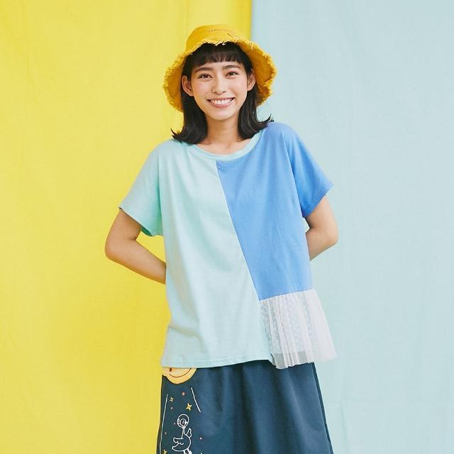 【Dailo】色塊拼接棉T-女短袖上衣 拼接 藍(藍色/版型合身)