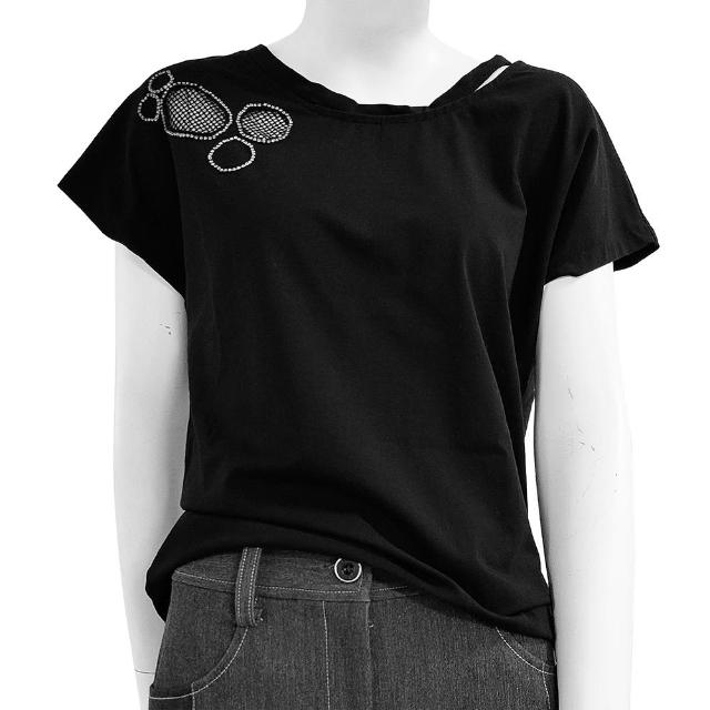 【SHOWCASE】開岔圓領圓網布縫鑽短袖棉質T恤(黑色)