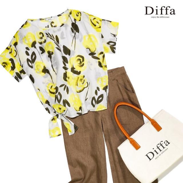 【Diffa】義式手畫黃色花卉綁帶上衣-女