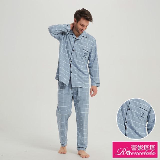 【蕾妮塔塔】紳士藍格紋 男性長袖兩件式睡衣(R08216-10藍格紋)