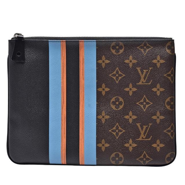 【Louis Vuitton 路易威登】M61678經典Monogram帆布藍橘線條拉鍊手拿包