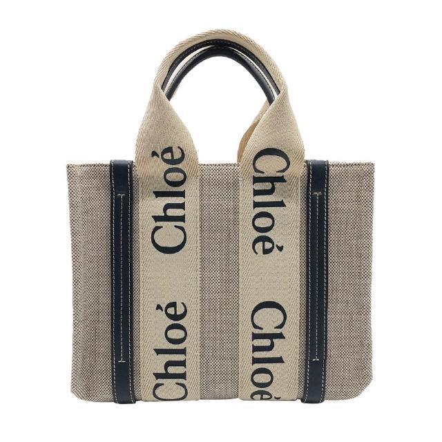 【Chloe' 蔻依】Woody 帆布小型托特包(米白/深藍)