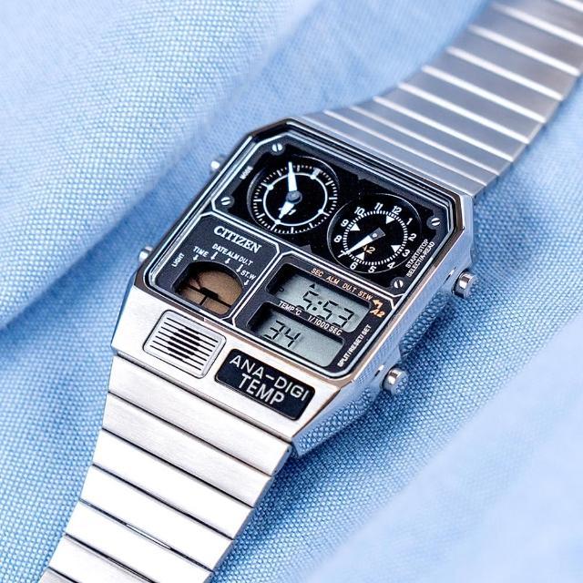 【CITIZEN 星辰】金屬復刻數位雙顯不鏽鋼腕錶/銀(JG2101-78E)
