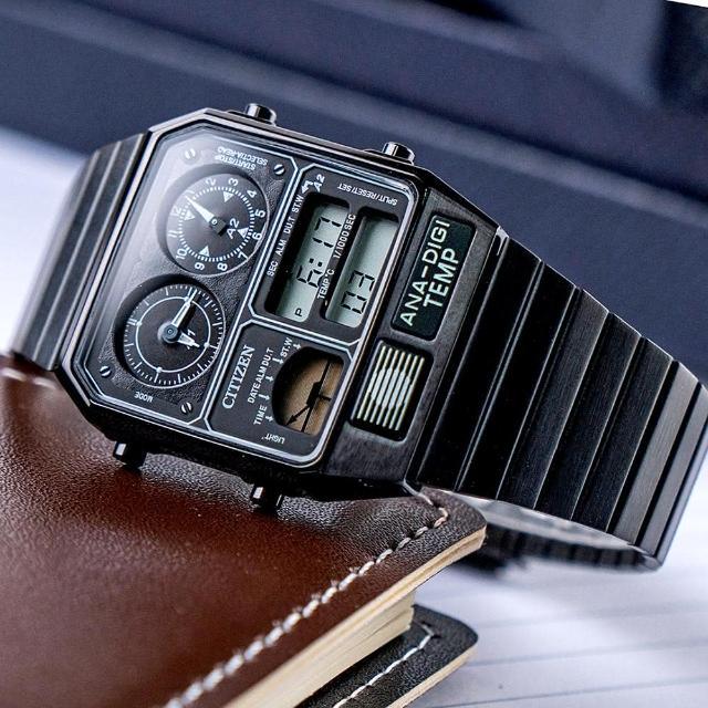 【CITIZEN 星辰】金屬復刻數位雙顯不鏽鋼腕錶/黑(JG2105-93E)