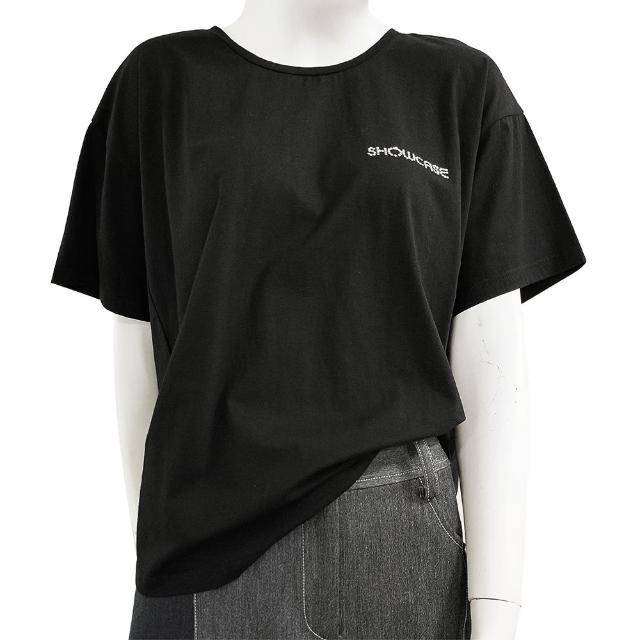 【SHOWCASE】圓領LOGO燙鑽素色短袖 寬版 棉質 T恤(黑色)