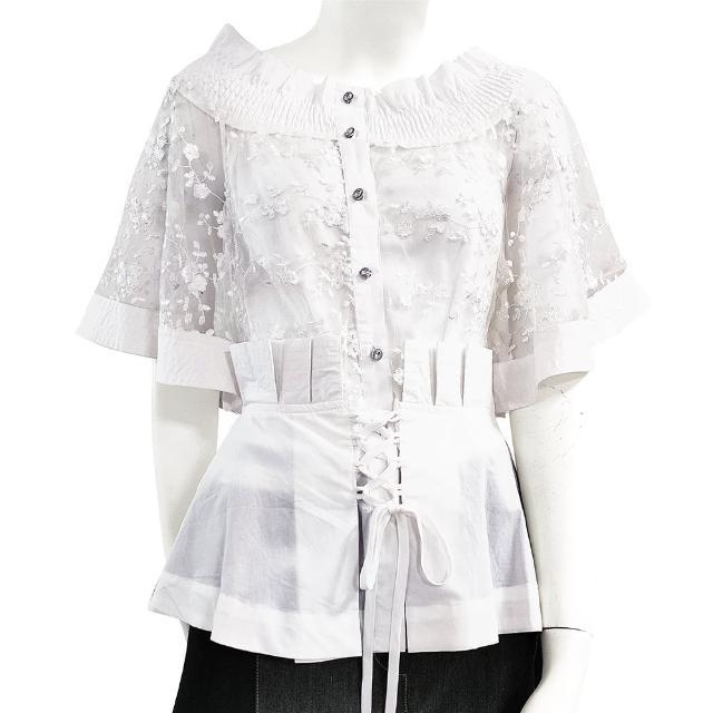 【SHOWCASE】名媛彈性一字領唯美繡花收腰五分袖蕾絲襯衫(白色)