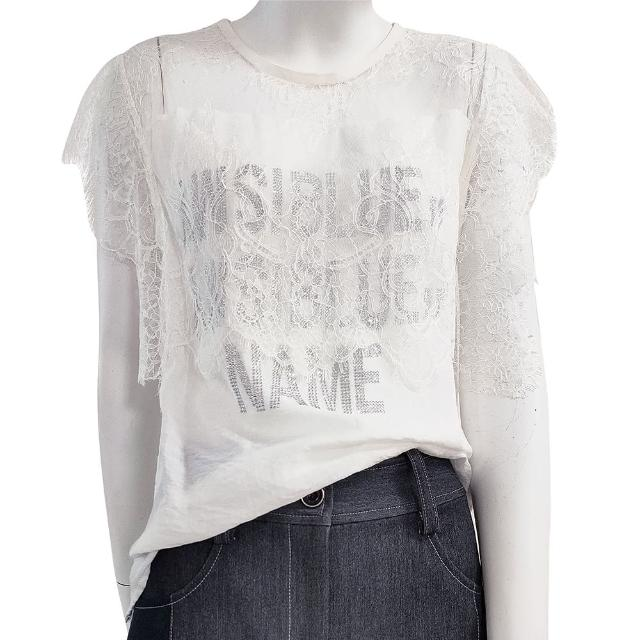 【SHOWCASE】俏麗透膚英字燙鑽短袖 蕾絲 上衣(白色)